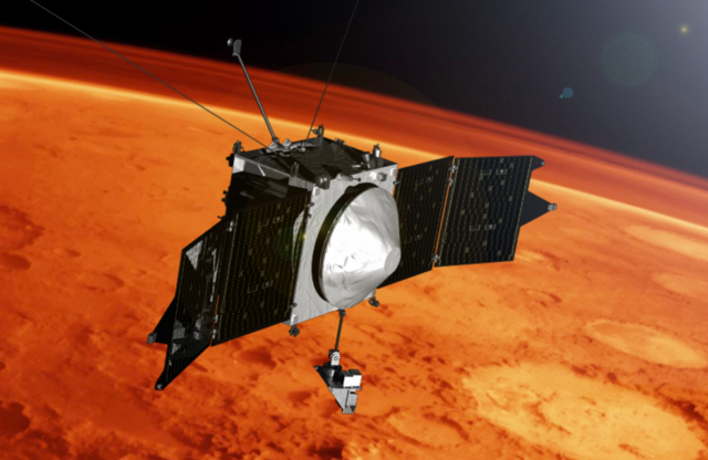 An illustration of the MAVEN spacecraft. Image courtesy of NASA.