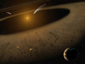 An artist's illustration of the epsilon Eridani system showing Epsilon Eridani b, right foreground, a Jupiter-mass planet orbiting its parent star at the outside edge of an asteroid belt. In the background can be seen another narrow asteroid or comet belt plus an outermost belt similar in size to our solar system's Kuiper Belt. (NASA/SOFIA/Lynette Cook)