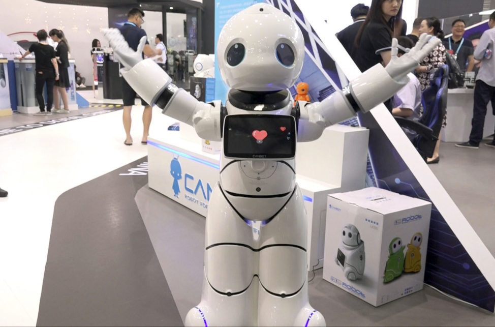 This is a video screen shot capture on June 8, 2017 of China's Canbot robot as it performs at the Shanghai CES electronic show in Shanghai, China. (AP)