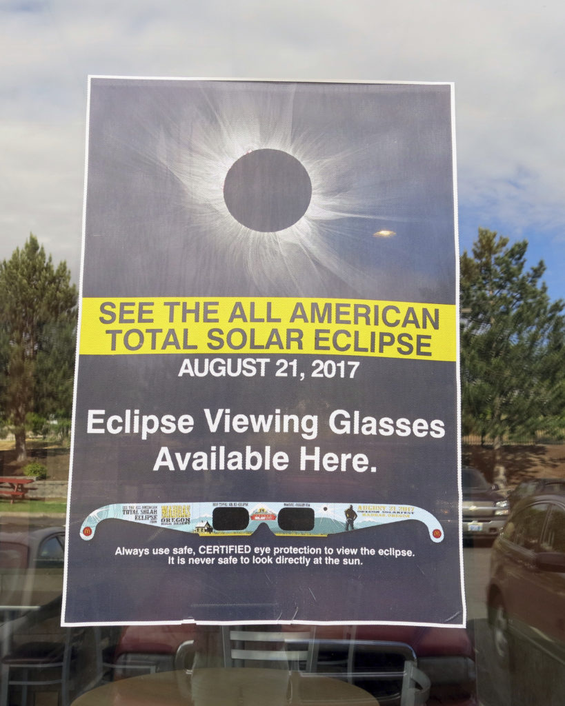 Excitement is building in anticipation of a rare event taking place on August 21, 2017. That's when a total eclipse of the Sun will make its way across the continental United States from Oregon to South Carolina. The last time at least part of the U.S. experienced a solar eclipse was back in 1979 when one passed over several Northwestern States. Seen in this June 12, 2017 photo, is a poster advertising the astronomical event. (AP)