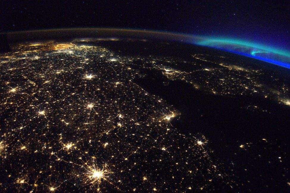 European Space Agency astronaut Thomas Pesquet Tweeted this photo of northern Europe he snapped from the International Space Station on May 9. Up in the top right corner you can see an aurora. (ESA/NASA)
