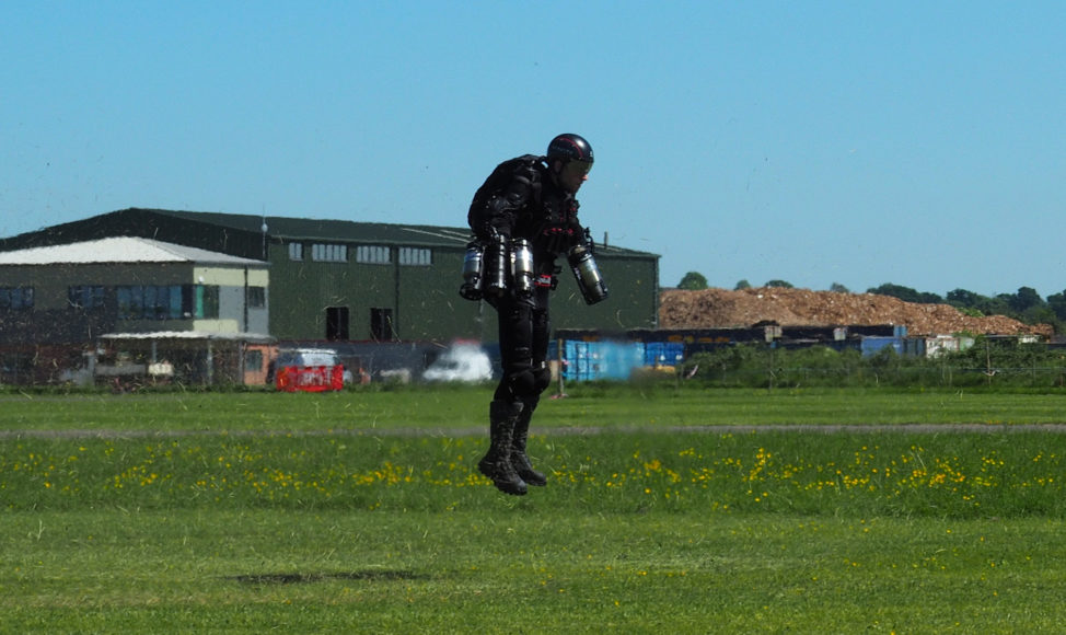 "Richard Browning of technology startup Gravity flies in his Iron Man-like jet suit called ""Daedalus"" at Henstridge airfield in Somerset, England on 5/25/17. (Reuters)"