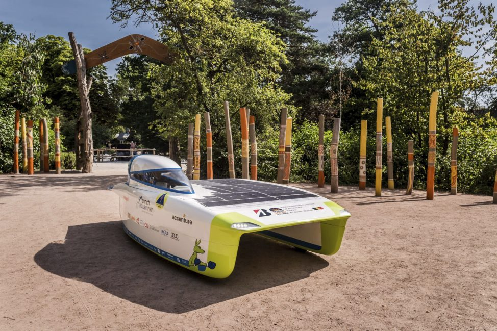 "The Belgian Punch Powertrain Solar Team showed off their new solar car ""Punch 2"" at Planckendael Zoo in Mechelen, Belgium on June 21, 2017. The team will compete in the Bridgestone World Solar Challenge to be held in Australia in October (AP)"