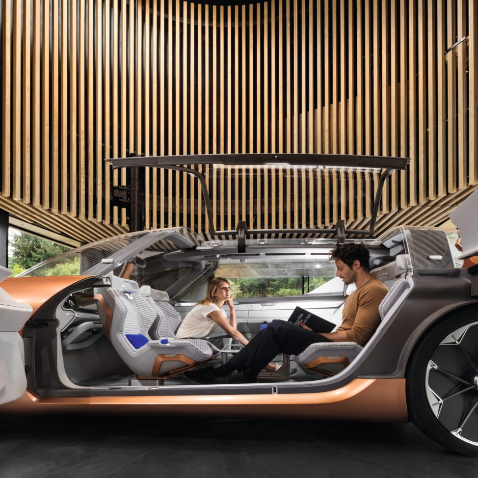 This image, released on September 14th, shows the interior of Renault concept car called the SYMZBIOZ. Created in collaboration with Phillips lighting the Renault SYMBIOZ, is both a car and a smart home. (Fernando Guerra/Philips via AP Images)