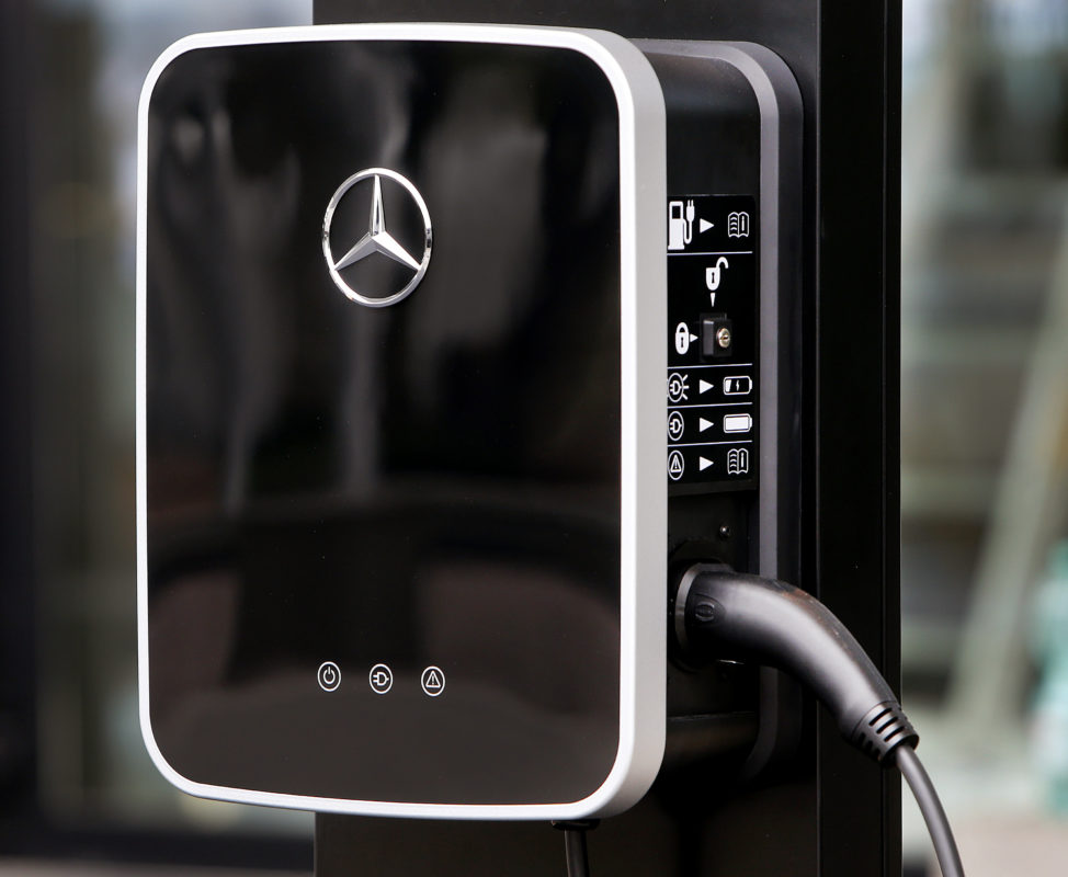 This is a photo of a Mercedes Benz electric car charging station that taken on September 11th prior to the start of IAA Car Show in Frankfurt, Germany. The auto-maker's parent company, Daimler AG, recently announced that it will invest $1 billion for electric vehicle production at its Tuscaloosa, Alabama plant. Plans also call for building a new battery factory. (AP Photo/Michael Probst, FILE)