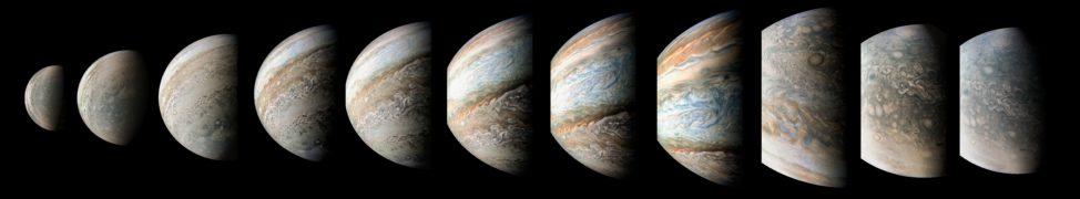 This sequence of color-enhanced images show a 95 minute time-lapse view of Jupiter as NASA's Juno spacecraft swoops by the giant planet on September 1st. (NASA/JPL-Caltech/SwRI/MSSS/Kevin M. Gill)