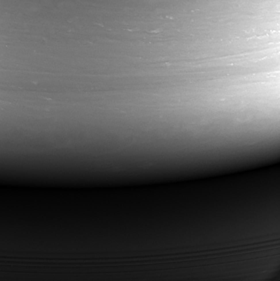 Although in black and white, this image is the last to be taken by the imaging cameras on NASA's Cassini spacecraft as it made its mission ending plunge into the atmosphere of Saturn on September 15th. (NASA/JPL-Caltech/Space Science Institute)
