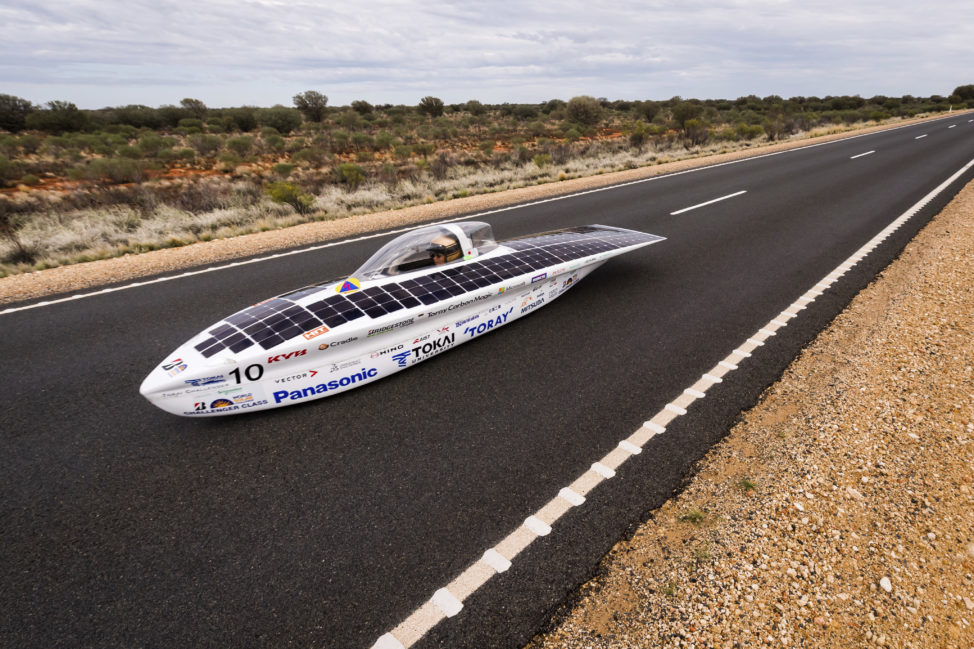 A solar car from Japan's Tokai University car competes during the fourth race day of the 2017 World Solar Challenge near Kulgera, Australia on 10/11/17. 42 Solar cars from 21 different countries participate in a 3,000 km race from Darwin to Adelaide, Australia. (AP)