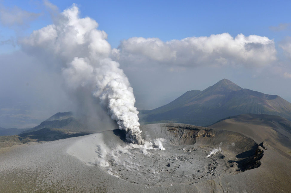In a photo taken by Kyodo on 10/11/17, the Shinmoe volcano in Kirishima, Kagoshima prefecture, Japan is seen after erupting. (Kyodo via Reuters)
