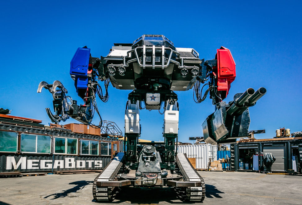 In a photo released 10/17/17, this is a giant fighting robot called Eagle Prime (MK3), built by MegaBots Inc., a Berkeley, California based company that builds fighting robots. (Greg Munson/MegaBots Inc. via Reuters)