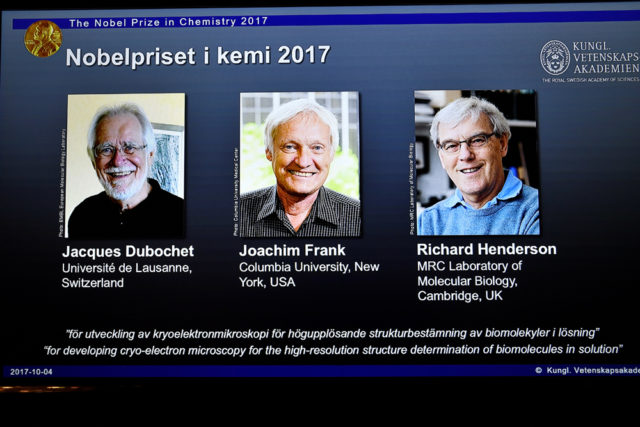 The names of Jacques Dubochet, Joachim Frank and Richard Henderson are displayed on the screen during the announcement of the winners of the Nobel Prize in Chemistry 2017, in Stockholm, Sweden, October 4, 2017. (TT News Agency/Claudio Bresciani via REUTERS)