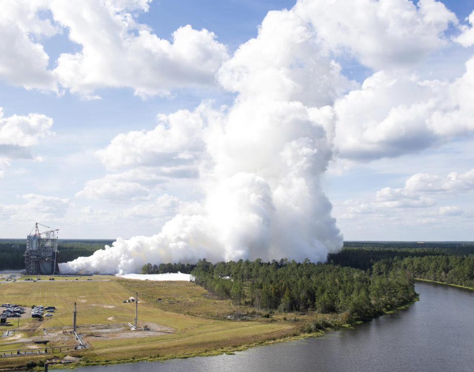 NASA engineers at the Stennis Space Center, in Mississippi, conducted a full test of a flight engine that's scheduled to help power the space agency's new Space Launch System rocket during Stennis Founders Day Open House activities on 10/19/17. (NASA/SSC)