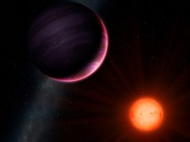 Artist's impression of the cool red star and gas-giant planet NGTS-1b against the Milky Way (University of Warwick/Mark Garlick)
