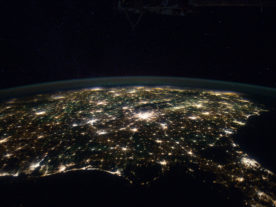 In this night image from Jan. 29, 2012, human presence is clearly visible as the International Space Station passed over the Gulf of Mexico looking north to the southeastern United States. (NASA)
