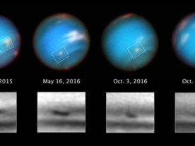 This series of Hubble Space Telescope images taken over 2 years tracks the demise of a giant dark vortex on the planet Neptune. (NASA, ESA, and M.H. Wong and A.I. Hsu (UC Berkeley))