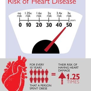 For every 10 years a person is obese, heart damage risk increases 1.25 percent. (Johns Hopkins Medicine)