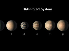 This artist's concept shows what the TRAPPIST-1 planetary system may look like. (NASA/JPL-Caltech)