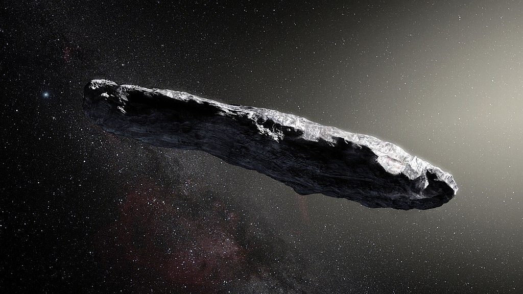 An artist's impression of 'Oumuamua, the first interstellar asteroid (ESO/M. Kornmessar via Wikimedia Commons)