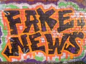 Fake News Graffiti, Friargate Railway Station, Derby, UK (Eamon Curry via Flickr/Creative Commons 2.0)