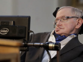 In this March 6, 2017 file photo, Professor Stephen Hawking receives the Honorary Freedom of the City of London during a ceremony at the Guildhall in the City of London. (AP Photo/Matt Dunham, file)