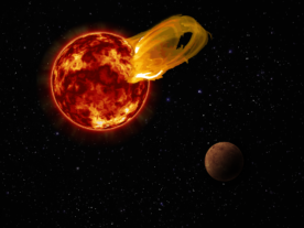 Artist impression of a flare from Proxima Centauri, modeled after the loops of glowing hot gas seen in the largest solar flares. An artist's impression of the exoplanet Proxima b is shown in the foreground. A flare 10 times larger than a major solar flare would blast Proxima b with 4,000 times more radiation than the Earth gets from our Sun's flares. (Roberto Molar Candanosa/Carnegie Institution for Science, NASA/SDO, NASA/JPL)