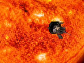Artist's concept of the Parker Solar Probe spacecraft approaching the sun. In order to unlock the mysteries of the corona, but also to protect a society that is increasingly dependent on technology from the threats of space weather, we will send Parker Solar Probe to touch the sun. (NASA/Johns Hopkins APL/Steve Gribben)