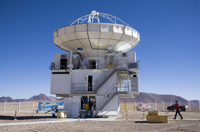 The Atacama Pathfinder Experiment (APEX) 12-m sub-millimeter telescope. (ESO/H.H.Heyer/Creative Commons Attribution 4.0 International License/Wikimedia)