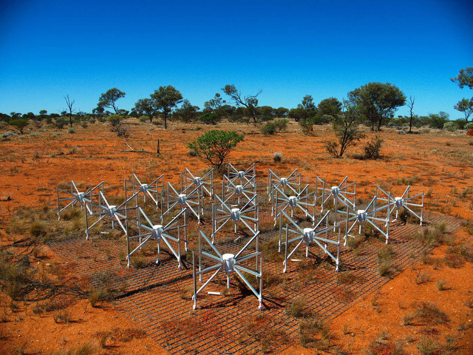 One of the tiles making up the 32T, a prototype instrument for the Murchison Widefield Array in Western Australia. (Natasha Hurley-Walker/Creative Commons Attribution-Share Alike 3.0 Unported via Wikimedia Commons)