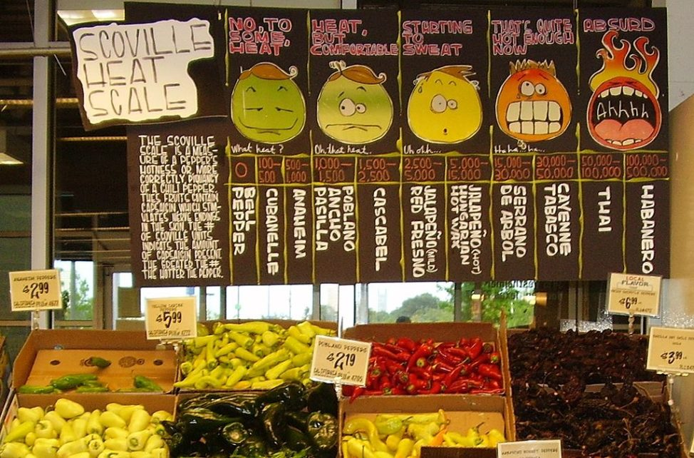 A display of hot peppers and a board explaining the Scoville scale at the H-E-B Central Market location in Houston, Texas - Art by Lisa Stewart (Public Domain/Wikimedia Commons)