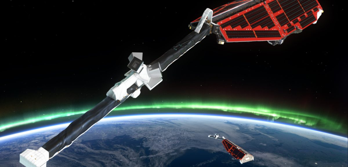 Swarm is ESA's constellation of Earth observation satellites designed to measure the magnetic signals from Earth's core, mantle, crust, oceans, ionosphere and magnetosphere, providing data that will allow scientists to study the complexities of our protective magnetic field. (© ESA/AOES Medialab)
