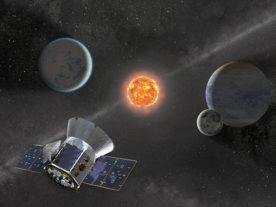 Illustration of NASA's Transiting Exoplanet Survey Satellite -- TESS -- observing an M dwarf star with orbiting planets. (NASA's Goddard Space Flight Center)