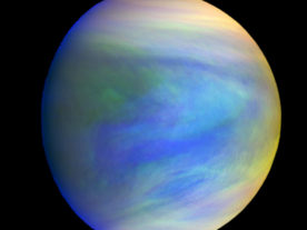 A composite image of the planet Venus as seen by the Japanese probe Akatsuki. (Akatsuki Orbiter built by Institute of Space and Astronautical Science/Japan Aerospace Exploration Agency)