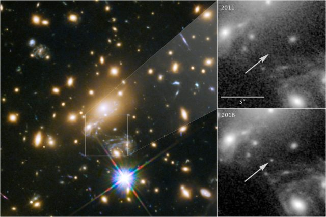 A massive cluster (left) magnified a distant star more than 2,000 times, making it visible from Earth (lower right) even though it is 9 billion light years away, far too distant to be seen individually with current telescopes. It was not visible in 2011 (upper right). (NASA, ESA, and P. Kelly (University of Minnesota))