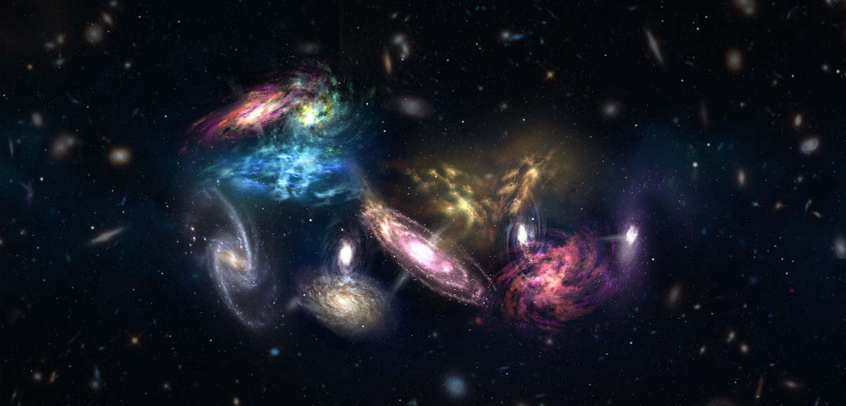 Artist impression of the 14 galaxies hdetected by ALMA as they appear in the very early, very distant universe. These galaxies are in the process of merging and will eventually form the core of a massive galaxy cluster. (NRAO/AUI/NSF; S. Dagnello)