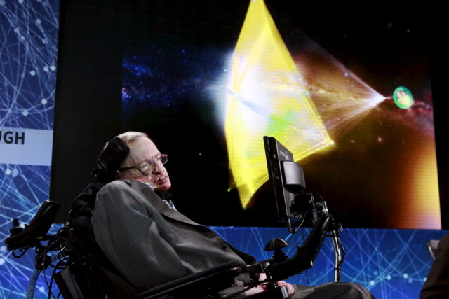 The late Physicist Stephen Hawking is seen here, in this April 12, 2016 photo, on stage during an announcement of the Breakthrough Starshot initiative in New York. (REUTERS/Lucas Jackson)
