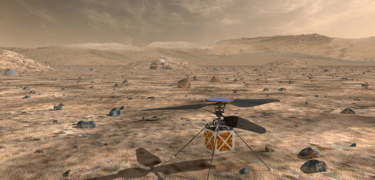 NASA's Mars Helicopter, a small, autonomous rotorcraft, will travel with the agency's Mars 2020 rover. (NASA/JPL-Caltech)