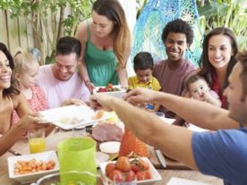 A group of people eating healthy food (U.S. Department of Agriculture)