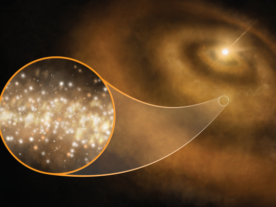 Artist impression of nanoscale diamonds surrounding a young star in the Milky Way. Recent Green Bank Telescope and Australia Telescope Compact Array observations have identified the telltale radio signal of diamond dust around 3 such stars, suggesting they are a source of the so-called anomalous microwave emission. (S. Dagnello, NRAO/AUI/NSF)