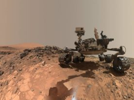 "This low-angle self-portrait of NASA's Curiosity Mars rover shows the vehicle at the site from which it reached down to drill into a rock target called ""Buckskin"" on lower Mount Sharp. (NASA/JPL-Caltech/MSSS)"