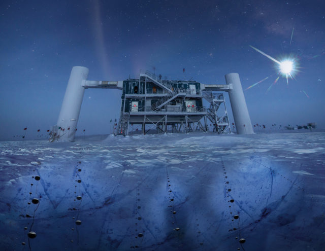 In this artistic composition, based on a real image of the IceCube Lab at the South Pole, a distant source emits neutrinos that are detected below the ice by IceCube sensors, called DOMs. (IceCube/NSF)