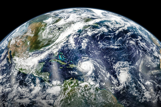 Hurricanes Katia, Irma and Jose (labeled in white) are seen lined up in the Atlantic on September 6, 2017. The image was captured by the Suomi NPP weather satellite. (NASA)