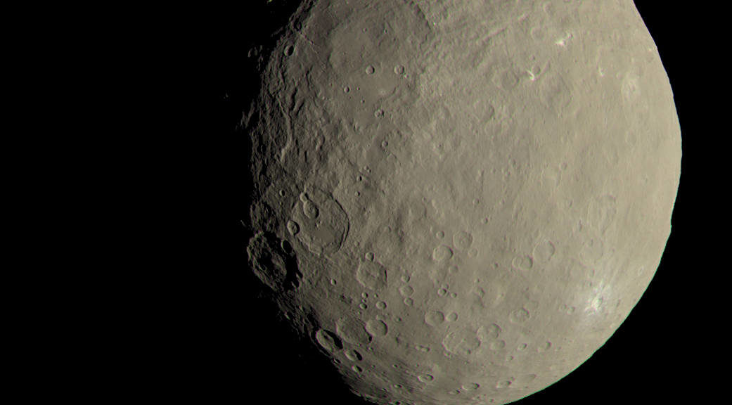 This image of Ceres approximates how the dwarf planet's colors would appear to the eye. This view of Ceres, produced by the German Aerospace Center in Berlin, combines images taken during Dawn's first science orbit in 2015. (NASA/JPL-Caltech/UCLA/MPS/DLR/IDA)
