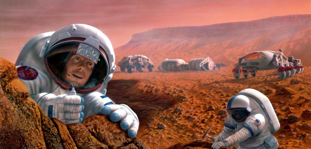 Artist impression of humans exploring Mars. (NASA)