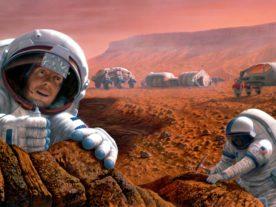 Artist impression of humans exploring Mars. (NASA)