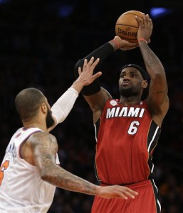 LeBron shoots over Tyson Chandler of the New York Knicks Photo: AP