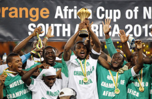 Nigerian players celebrate winning the Nations Cup trophy in Johannesburg. Photo: Reuters