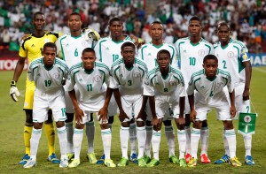 Nigerian players pose for team photo before beating Mexico at FIFA U-17 World Cup in Mexico. Photo: Reuters