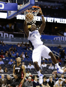 Victor Oladipo dunks against the defending NBA champion Miami Heat. Photo: AP