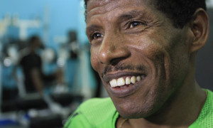 Haile smiles at his gym in Ethiopia's capital, Addis Ababa. Photo: Reuters