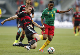 Cameroon's captain Samuel Eto'o (#9) in action against Germany June 1 in a World Cup warm-up match. Photo: AP